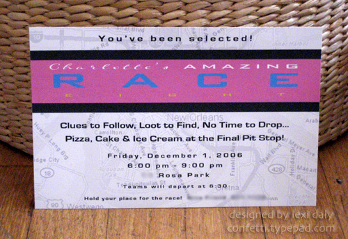 amazing race birthday party templates - invitations announcements charlotte 39 s amazing race